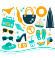Summer design element set - orange and blue vector image