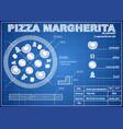 pizza margherita ingredients blueprint scheme vector image