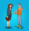 man talking with business woman pop art vector image