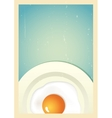 Scrambled egg on plate Retro background vector image vector image