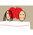 Young couple with apple in bed vector image