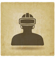 man in glasses virtual reality vintage background vector image