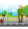 An old man at the road with a cane vector image