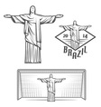 Statue of Jesus Christ and of Rio de Janeiro vector image vector image