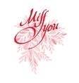 Watercolor leaf Valentine Day card vector image