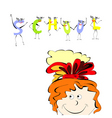 girl with inscription school vector image vector image