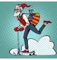 Hipster Santa Claus spreads the Christmas gifts on vector image