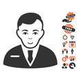 businessman icon with valentine bonus vector image