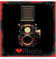retro poster with colored vintage camera vector image