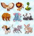 sticker set with lots of wild animals vector image