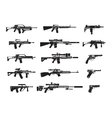 Machine gun and handgun rifle pistol icons vector image