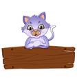 A wooden signboard with a friendly cat vector image