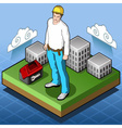 Isometric Infographic Hard Hat - Home Builder - vector image