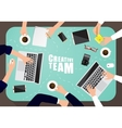 Working place of creative team in flat design vector image vector image