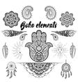 bohemian ornamental elements makhenda vector image