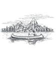 Native american in canoe boat vector image