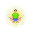 Man sitting in lotus posture icon comics style vector image