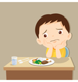 boy bored with food vector image