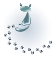 Cat of stones and glass and his footprints EPS10 vector image