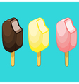 Chocolate lemon strawberry ice cream on stick vector image