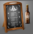 Menu template on chalkboard - for beer and alcohol vector image