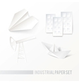 Origamipaper icons on white background vector image