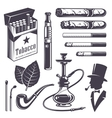 Set of vintage smoking tobacco elements vector image