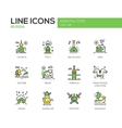 Russian symbols - flat design line icons set vector image
