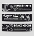 bakery chalkboard banners template set vector image
