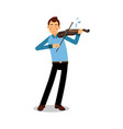 young musician playing a violin cartoon character vector image