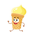 funny smiling yellow ice cream character in wafer vector image