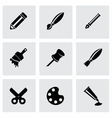 black art tool icon set vector image