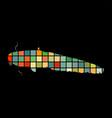catfish fish aquatic mosaic silhouette animal vector image