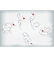 Set of white cats and hearts with wings EPS10 vector image