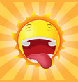 sun face happy cartoon emotion vector image