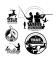 Vintage hunting and fishing labels logos vector image