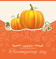 Thanksgiving day autumn card with yellow pumpkins vector image