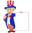 Uncle sam cartoon with blank sign vector image