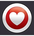Heart button red round sticker vector image vector image