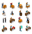 craftsman isometric icons set vector image