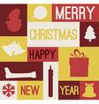 Retro christmas card with various seasonal shapes vector image vector image