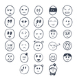 Set of hand drawn funny faces with different vector image vector image