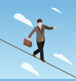 businessman balancing on rope isometric vector image