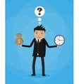 Cartoon businessman with money bag and clock vector image