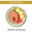 european cuisine salmon fish traditional dish food vector image