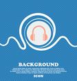 headphones icon sign Blue and white abstract vector image