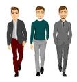 portrait of young men walking forward vector image