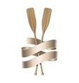 Two wooden paddles Sport oars vector image