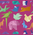origami style of different paper animals seamles vector image