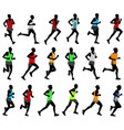 runners in colored sportswear silhouettes vector image vector image